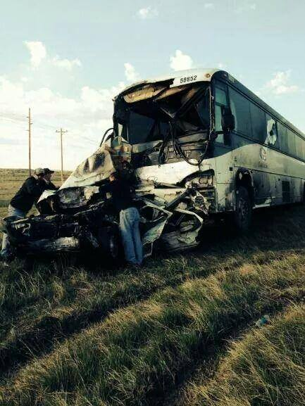 A Powder River Transportation bus collided with a row of stopped vehicles at a construction site south of Gillette. Three people in two cars were killed outright. (via Christine Schmit courtesy photo)