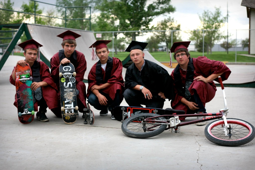 Members of the Central Wyoming Skateboarding Association who graduated this week are, from left, to right: Toby Lewis, Robert Dodrill, Brian Lewis, Cody Pigg, Josh Ballard. Photo by Matt Wright.