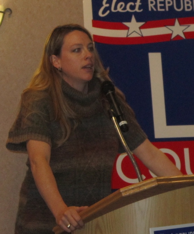 Deputy County Attorney Ember Oakley was fired on Friday which she said was in retaliation for her support of  Patrick LeBrun. Oakley, above, introduced LeBrun at his candidacy announcement. (Ernie Over photo)