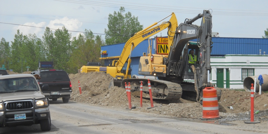 Excavators were at work at the project site Friday afternoon. (WYDOT)