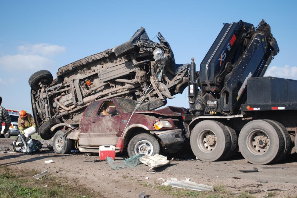 Highway 59 Crash scene (Photo by Wyoming Highway Patrol)