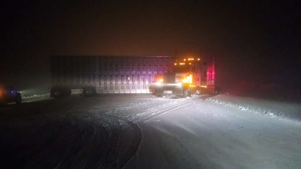 This was one of three jackknifed semi-tractor/trailer units on South Pass Sunday night. (Photo by Jen Lewis)