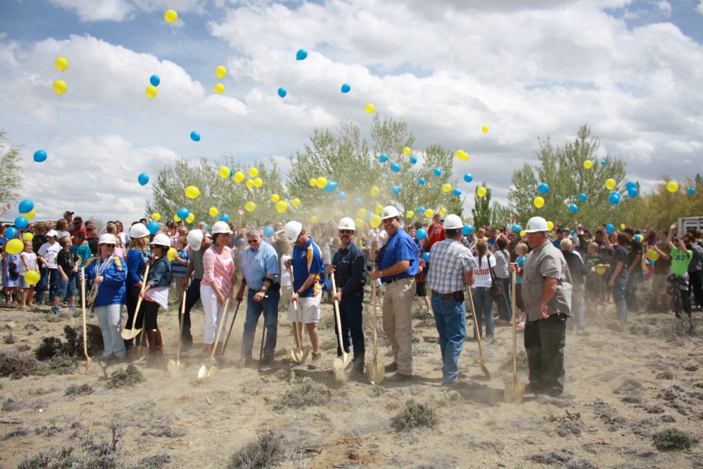 Shoshoni School Groundbreaking. As the dirt flew, so did the balloons Tuesday afternoon. (Ernie Over photo)