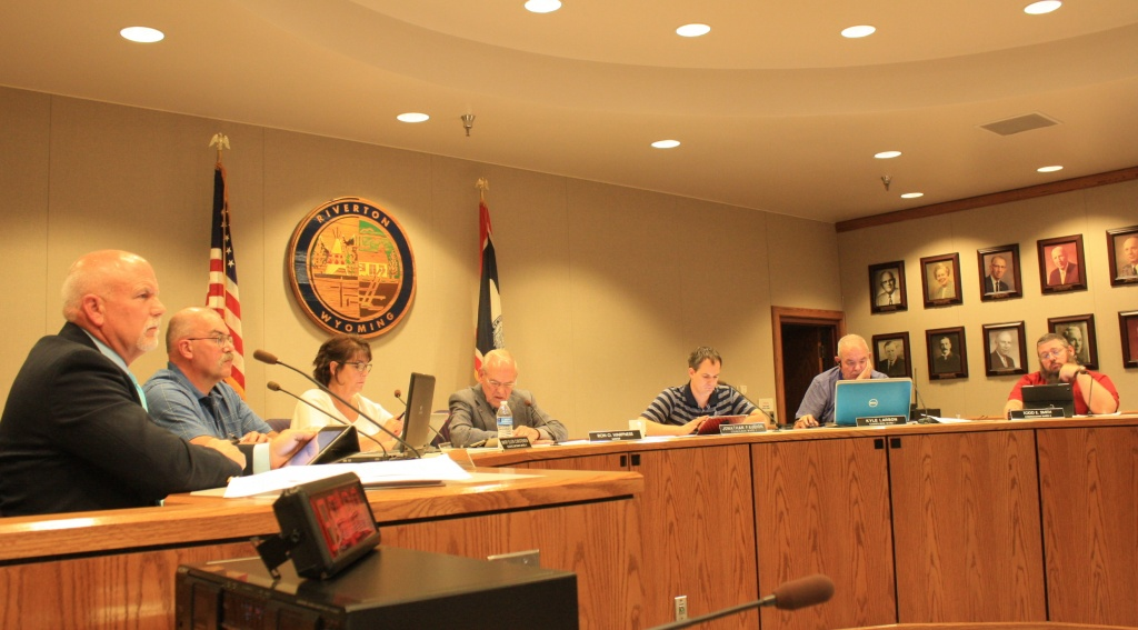 The Riverton City Council is pictured at a meeting in May. (File photo)