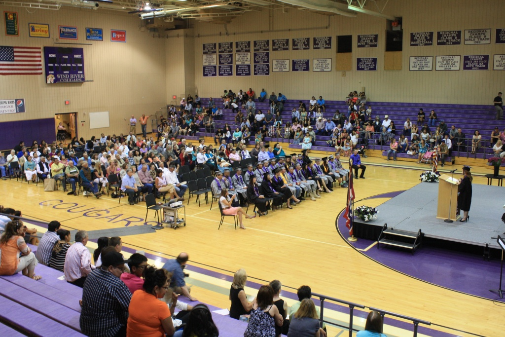 A big crowd gathered for Sunday afternoon's graduation at Wind River High School at Pavillion, including U.S. Senator Mike Enzi and U.S. Representative Cynthia Lummis. (Ernie Over photo)