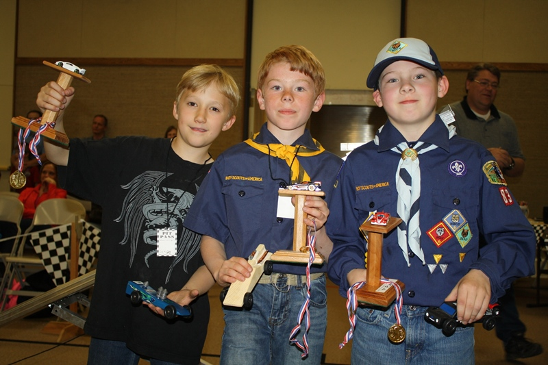 Scouts who placed (left to right): Third - Xavier Stover, Second - Josh Goodrich, and First - Gage Cole. Photo by Brian Linton.