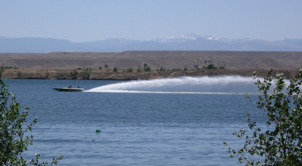 A speedboat on Pilot Butte Reservoir, aka Morton Lake. File photo.