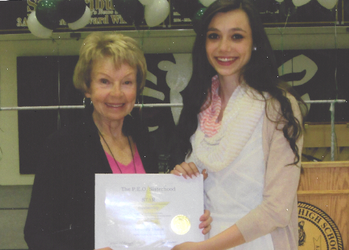 STAR scholarship recipient Kennedy Thatch, right, with Chapter Q member Carol Campbell. Photo provided.
