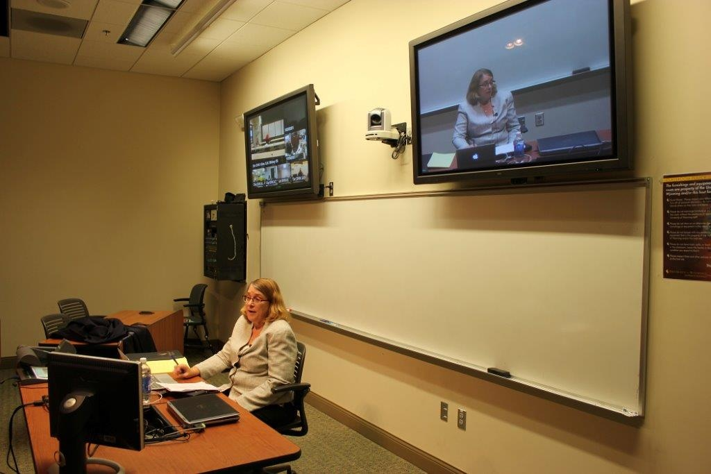 Susan Frye, University of Wyoming Outreach School dean, teaches an English course for the master's degree program using distance technology. (UW Photo)
