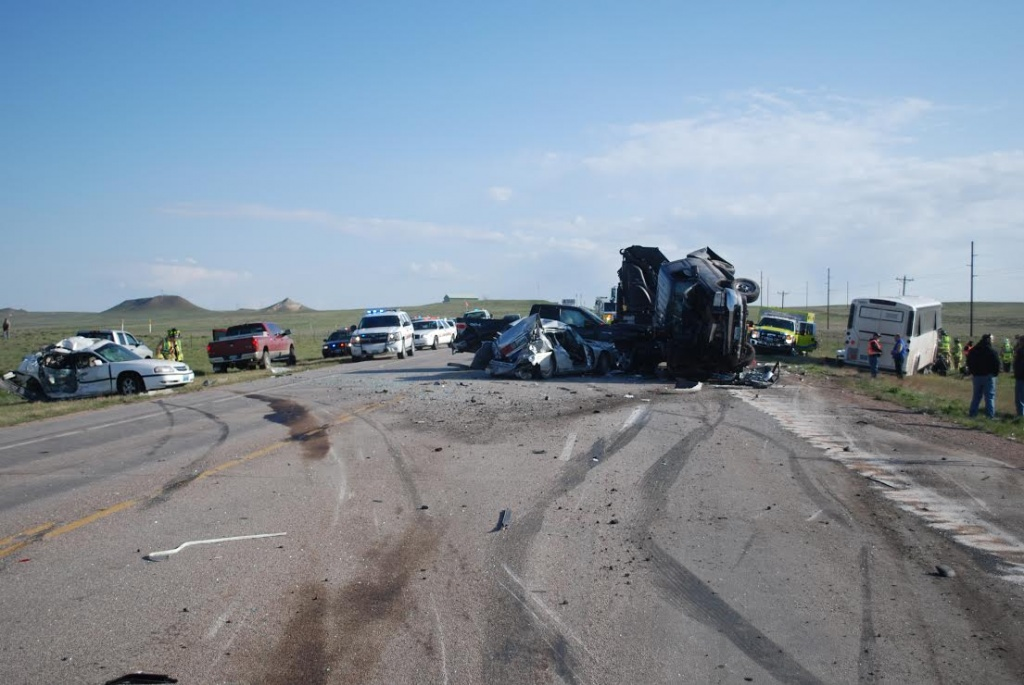 U.S. 59 Crash Scene. (Wyoming Highway Patrol photos)