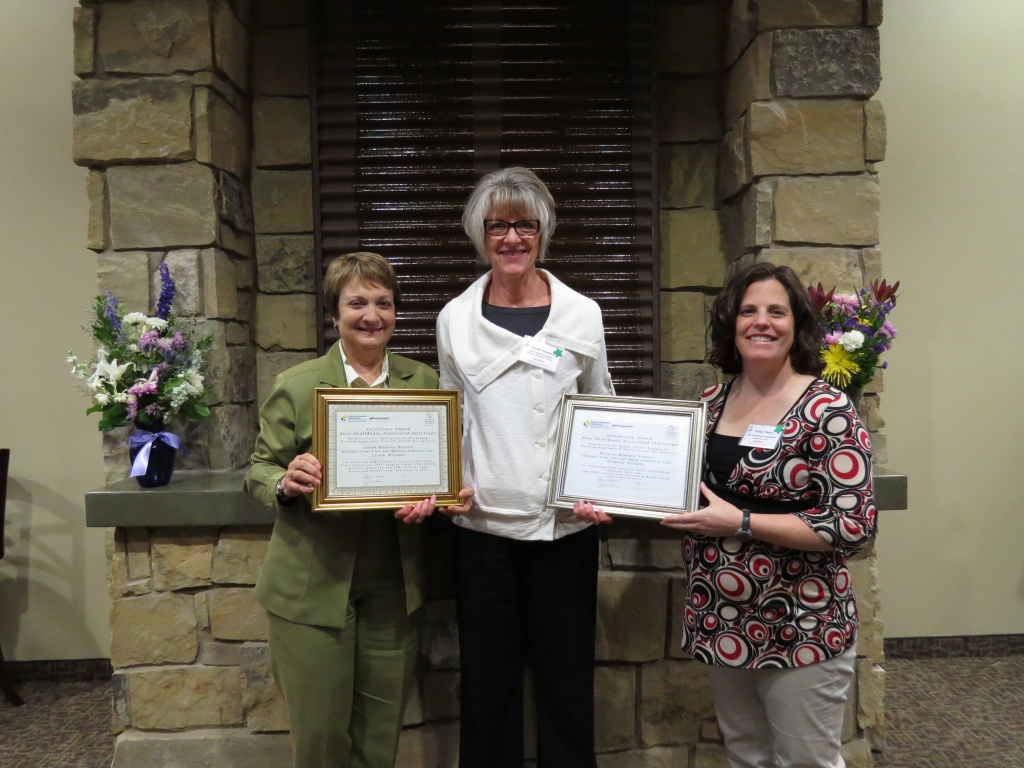 Interim SageWest Infection Prevention Director Leslie Teachout, center, accepted the awards at an Infection Prevention Conference held in Casper in April. (Sage West photo)