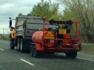 This Dura Patcher was spotted trailing behind a WYDOT truck south of Riverton on Wednesday. (Ernie Over photo)