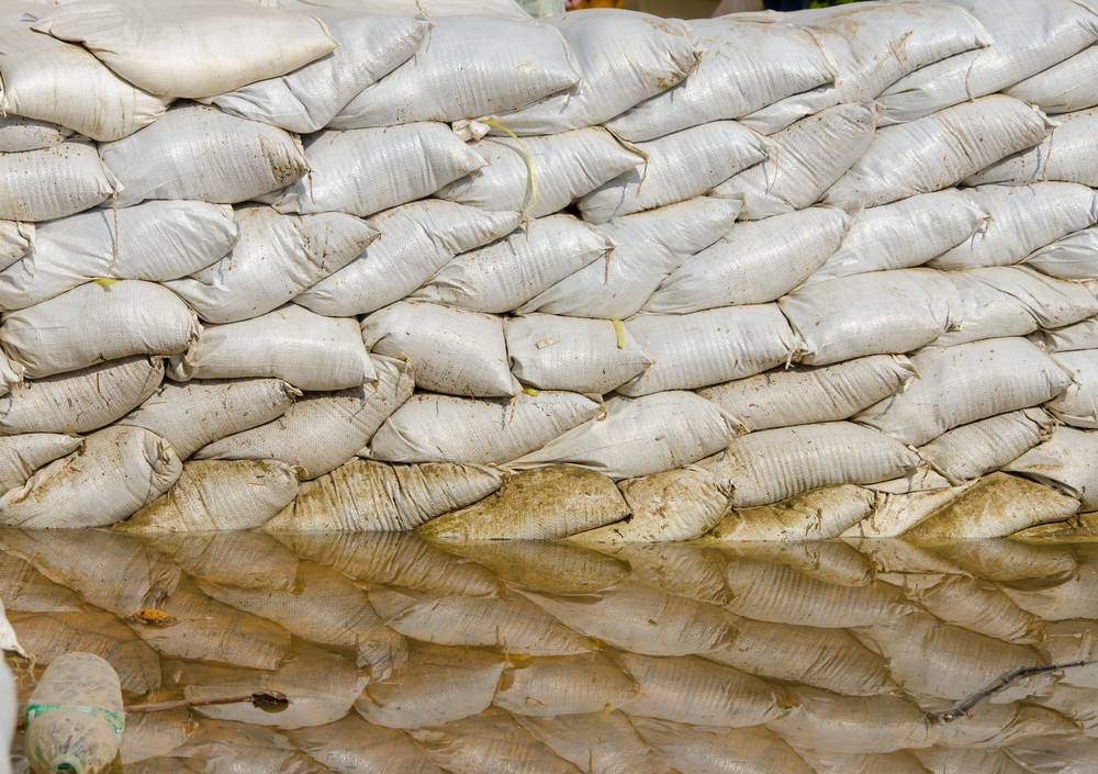 Sandbags for flood protection. Photo by weerayut ranmai/Shutterstock.
