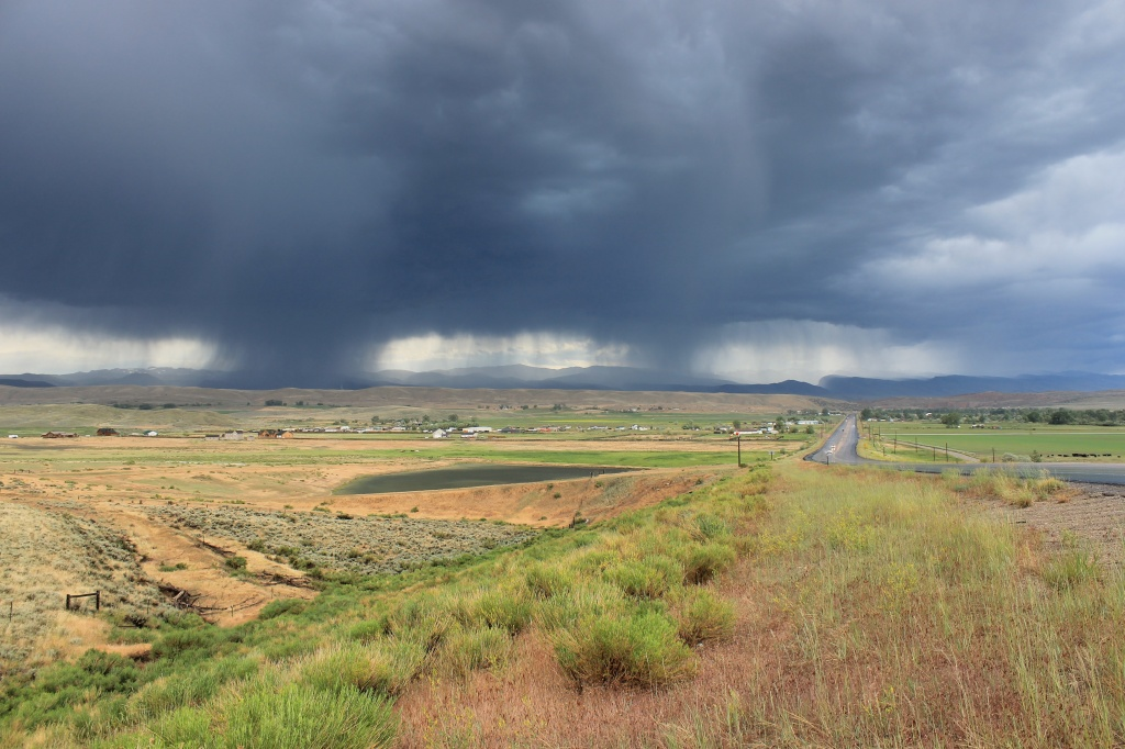 Alan Culver shot this wide angle view of two rain storm cells over Lander on Tuesday evening.