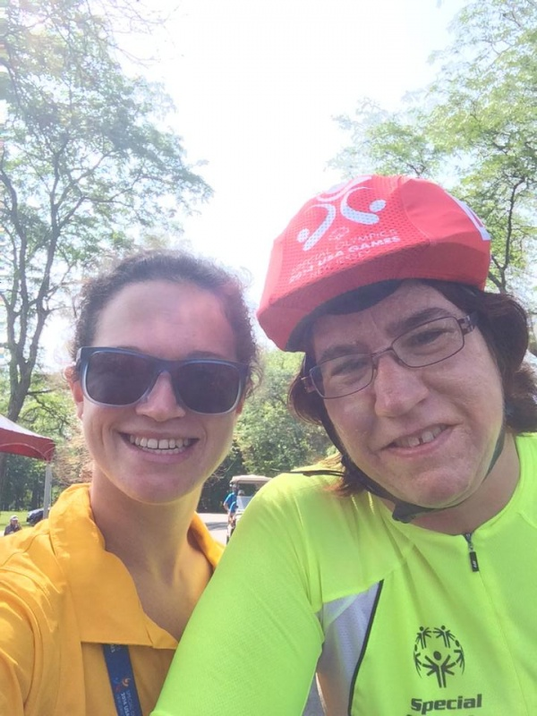 Team Wyoming Cycling Coach Jess Harn with Susan Fessler. Photo provided by Lander Masters Special Olympics.