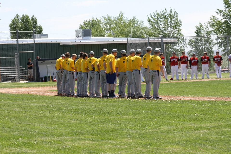 The Riverton Raiders Pre Game Lineup from May 31st game versus Rawlins at Roy Peck Field. (Raiders photo)