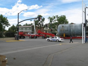 The mega load coming through town. Photo provided by a reader named 'Ron.'