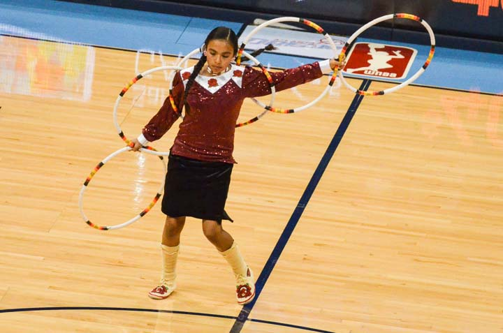Jaden Ferris performed a hoop dance at the Atlanta Dream half-time show on May 30. Photo by Amy Morris.