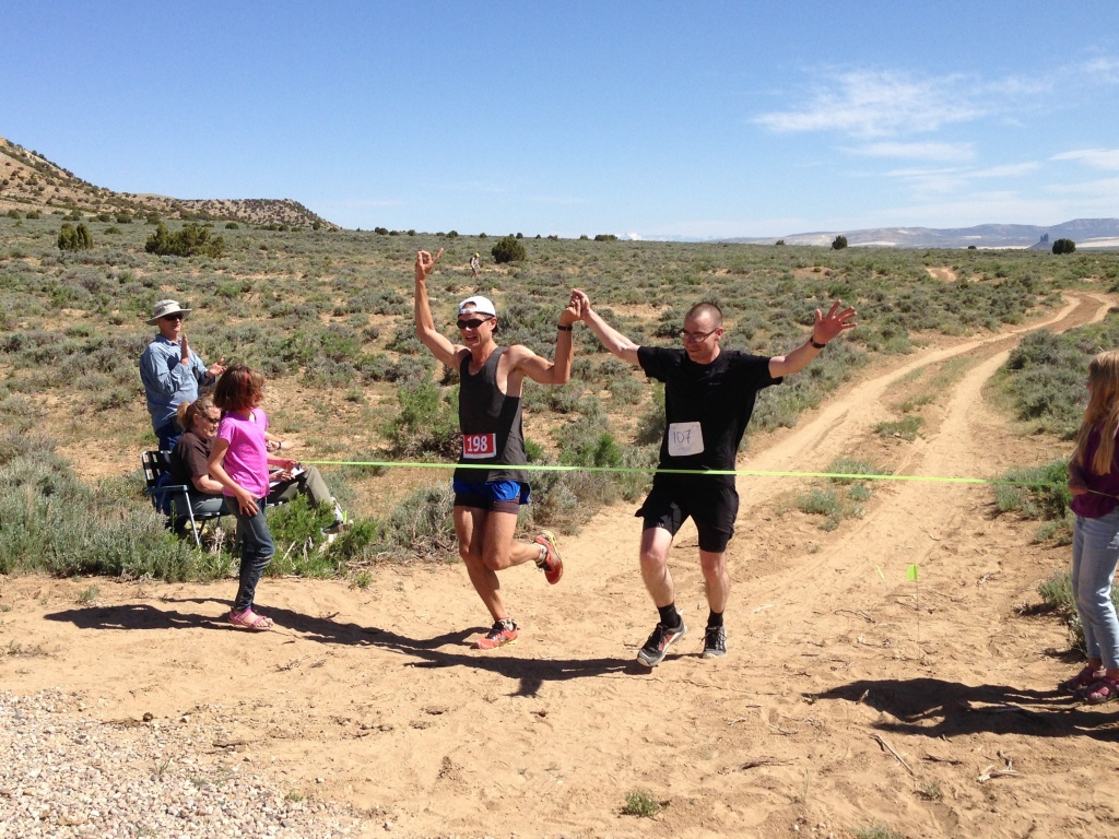 A tie at the finish in the Men's event between Lander's Kevin Redmon, left, and Scott Pies of Rock Springs. (Photo by Wyoming Outdoor Council)