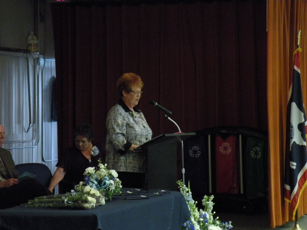 Dr. Kathy Hitt spoke at last month's Pathfinder High School graduation. Hitt is a former PHS principal.