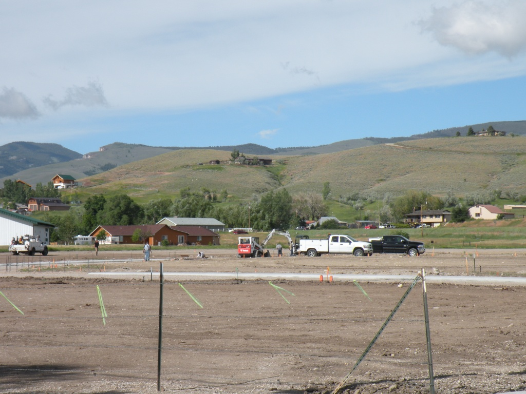 The Gannett Peak Estates construction site on a clear day.