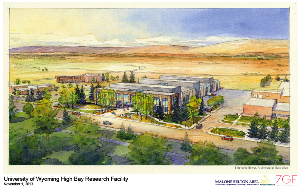 An artists concept for the High Bay Research Facility at the University of Wyoming. The concept is not the actual design.