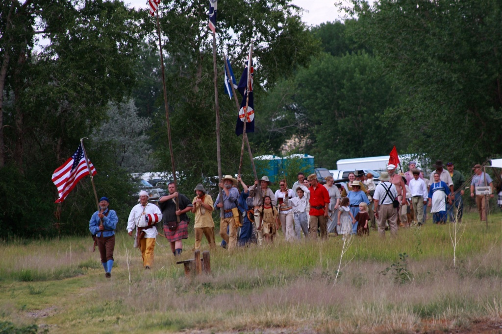 1838 Rendezvous kick-off march to the site.  Photo Copyright: Carol Lechner