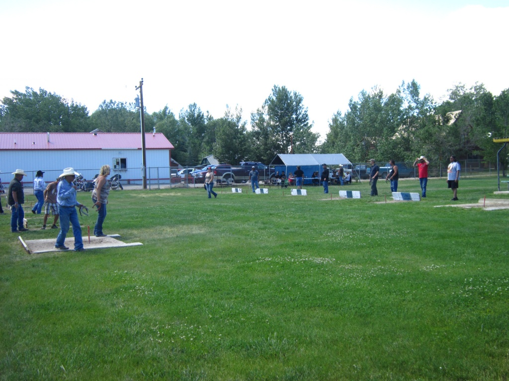 A horseshoe pitching tournament was held Saturday in Pavillion, with a good turnout of teams. (Ernie Over photo)