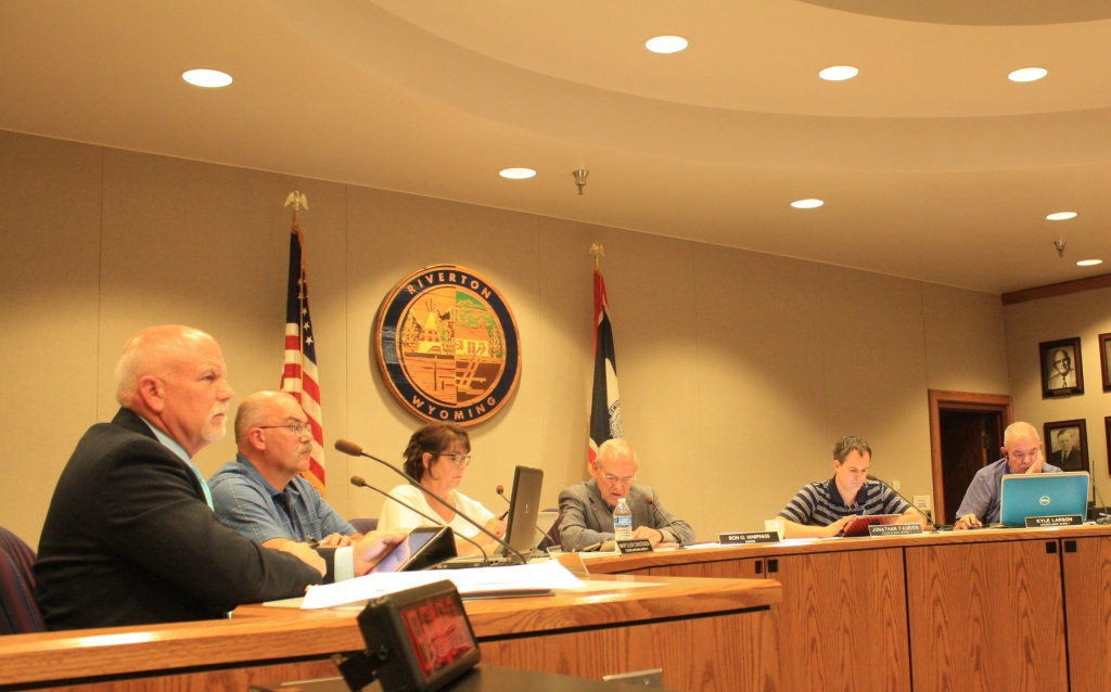 The councilors listened to testimony and discussed trash pickup in Riverton during the first hour of Tuesday night's regular council meeting. (Ernie Over photo)