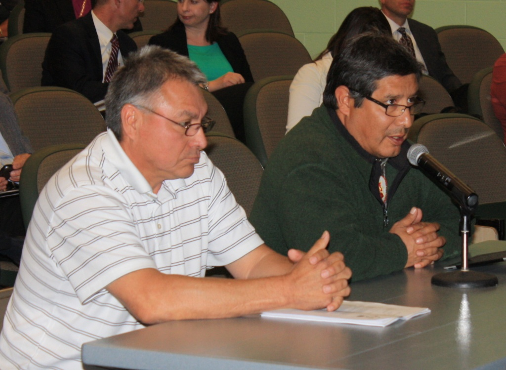 Northern Arapaho Business Council Chairman Darrel O'Neal Sr., left,  and Eastern Shoshone Business Councl Chairman Darwin St. Clair, Jr.  testified before a legislative select committee in Riverton in this file photo.  O'Neal asked members of his tribe to be respectful of CERA members at their conference in Riverton this weekend.