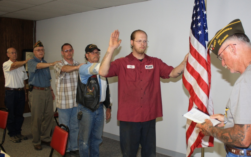 The new leadership team of the VFW, Wind River Post #3628 was installed Monday night in Riverton. (Ernie Over photo)