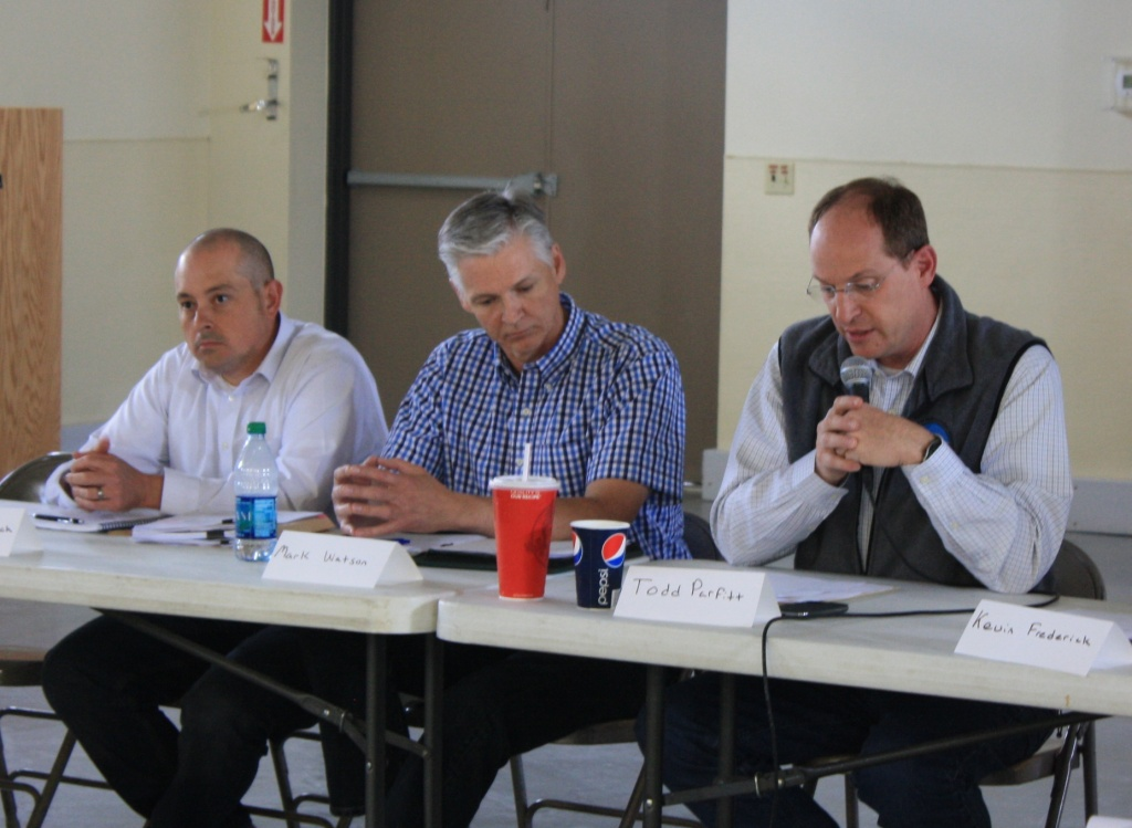 From right to left, Todd Parfitt, Wyoming DEQ Director; and Mark Watson and Tom Kropatch from the Wyoming Oil and Gas Conservation Commission gave updates at the Pavillion Working Group meeting Thursdy in Pavillion. (Ernie Over photo)
