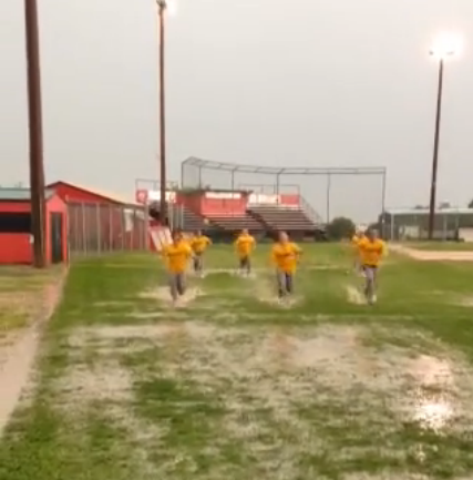 Even though the game was rained out, the Post 19 Raiders managed to get some head first sliding practice in.