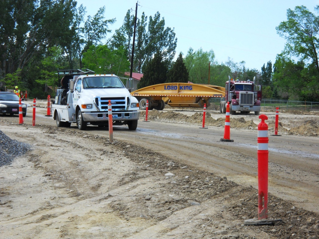 Construction crews are working at the intersection of Hill Street and Riverview in this photo from June 4th. (WYDOT)