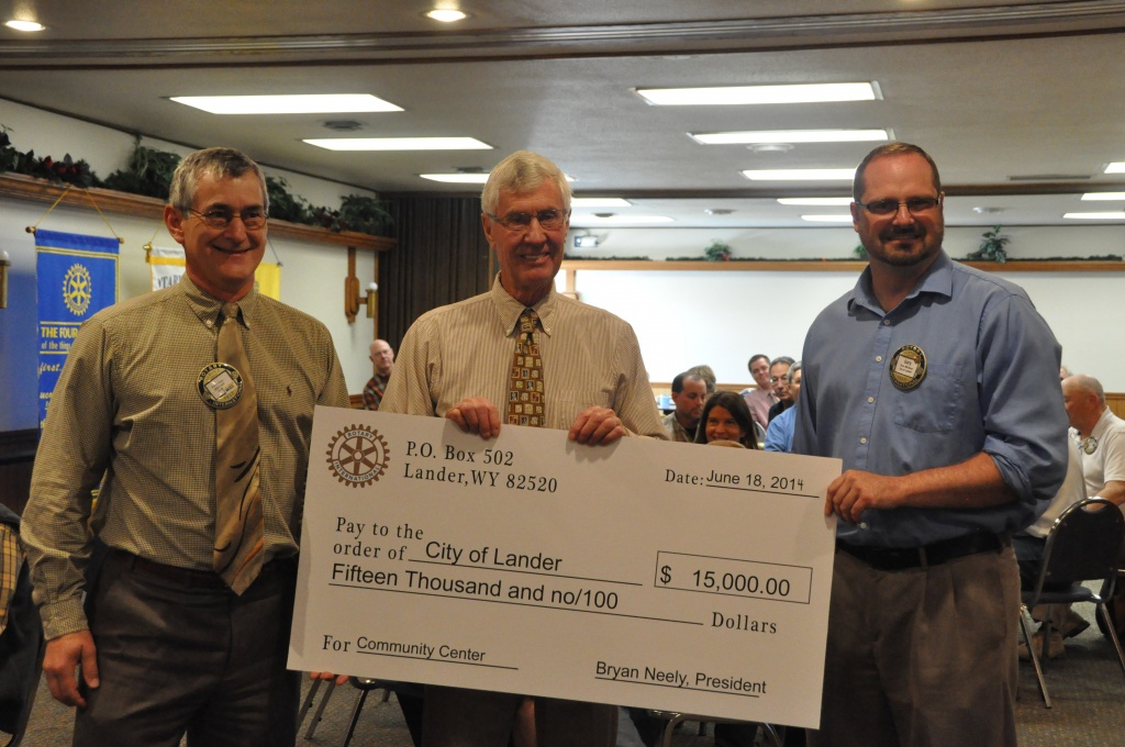 Pictured left to right are: President Bryan Neely, Mayor Wolfe, and Gary Michaud. Gary is also a member of the Lander Rotary club. (Ken Richardson)
