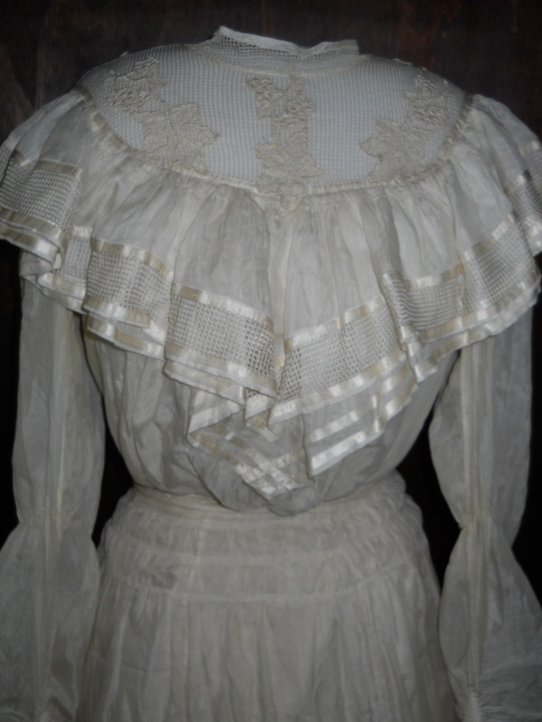 The wedding dress on loan from the Pioneer Museum to MAW.