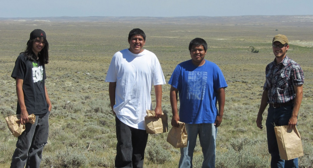 Wind River Indian Reservation students on the BLM's youth crew collected seeds near Lander last summer for the Seeds of Success program. Photo provided by Seeds of Success.