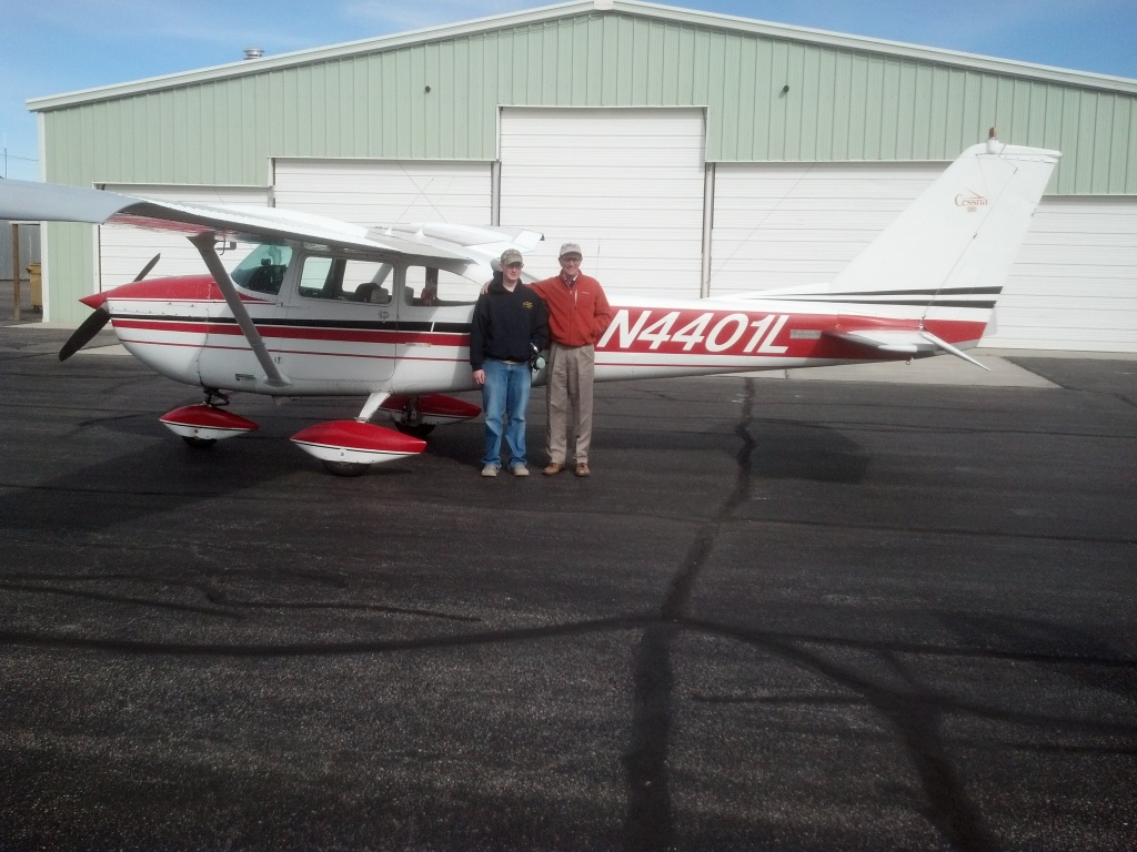 Jace Florquist with local flight instructor Andy Gramlich. Photo provided by Tammy Florquist.