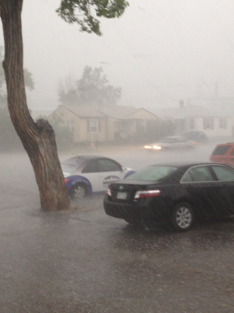 The rain and hail mix was coming down so hard, visibility was reduced to a half-block or less. (Ernie Over photo)