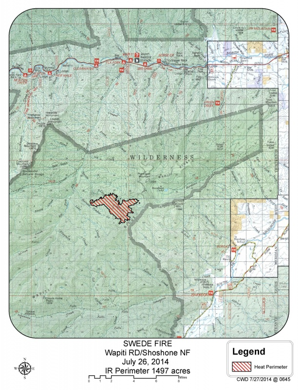 A map of the Swede Fire as of early Sunday. Provided by the Shoshone National Forest.