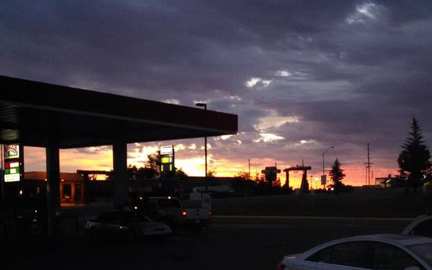 This early morning photo of a sunrise under a gas station canopy was taken on July 11th by Ethan in Lander.