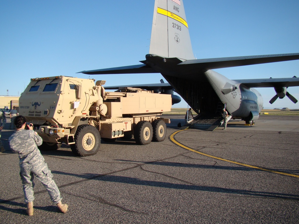 "A Wyoming Army National Guard HIMARS rocket launcher from the Lander Armory was transported to Cheyenne Tuesday for a ""hot panel"" fire mission. The HIMARS will be returned to Fremont County    Thursday morning about 10 a.m. at Riverton Regional Airport by an Air Guard C-130 Hercules aircraft. (Kevin Lee photo)"