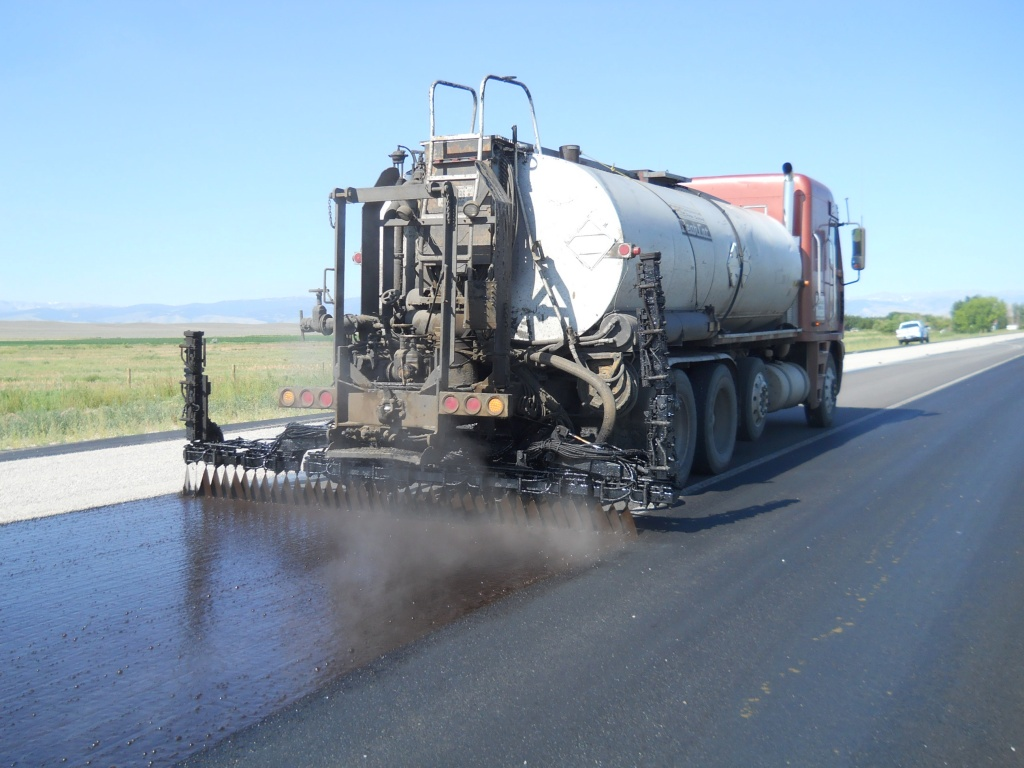 Chip sealing is now under way on the 17 Mile Road on the Wind River Reservation. (WYDOT)