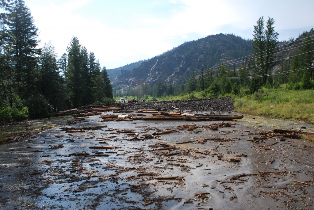 Debris covered the highway in Wapiti Valley west of Cody that leads to the East Entrance of Yellowstone. The road has reopened. (WYDOT)
