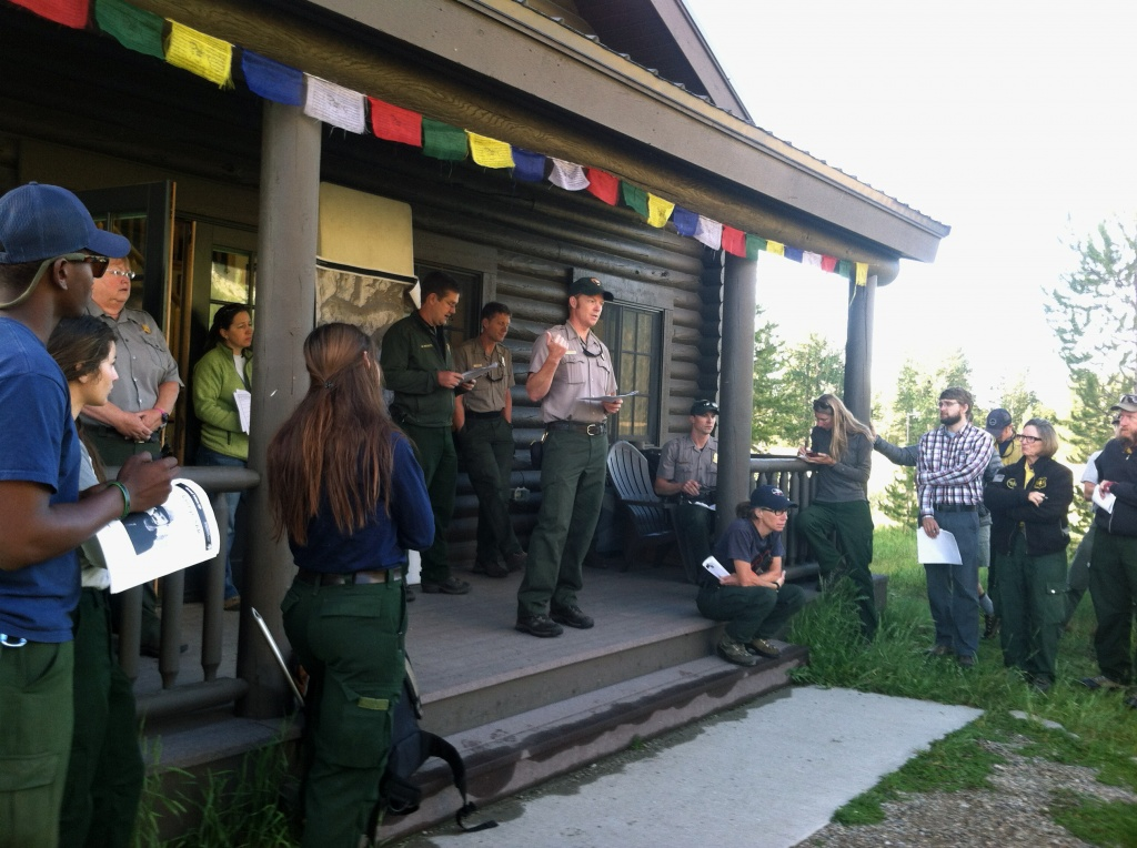 Incident Commander Scott Guenther briefs a group of Interagnecy personnel before launching the search and rescue operation for Will Cornyn on July 22, 2014. Cornyn's body was later found. While searchers were looking for Cornyn, two other rescue operations were launched in the park. (GTNP Photo)