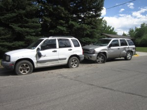 A sideswipe crash occurred Friday afternoon on South 5th near Shoshone.