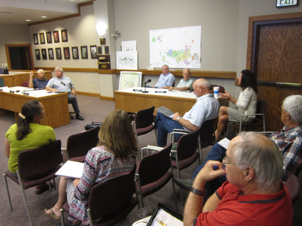 The Fremont County Air Serivce Enhancement Task Force heard from St. Sen. Hank Coe of Cody and Jackson Hole Air Service Improvement Executive Director Kara Cooper today in Riverton. (Ernie Over photo)