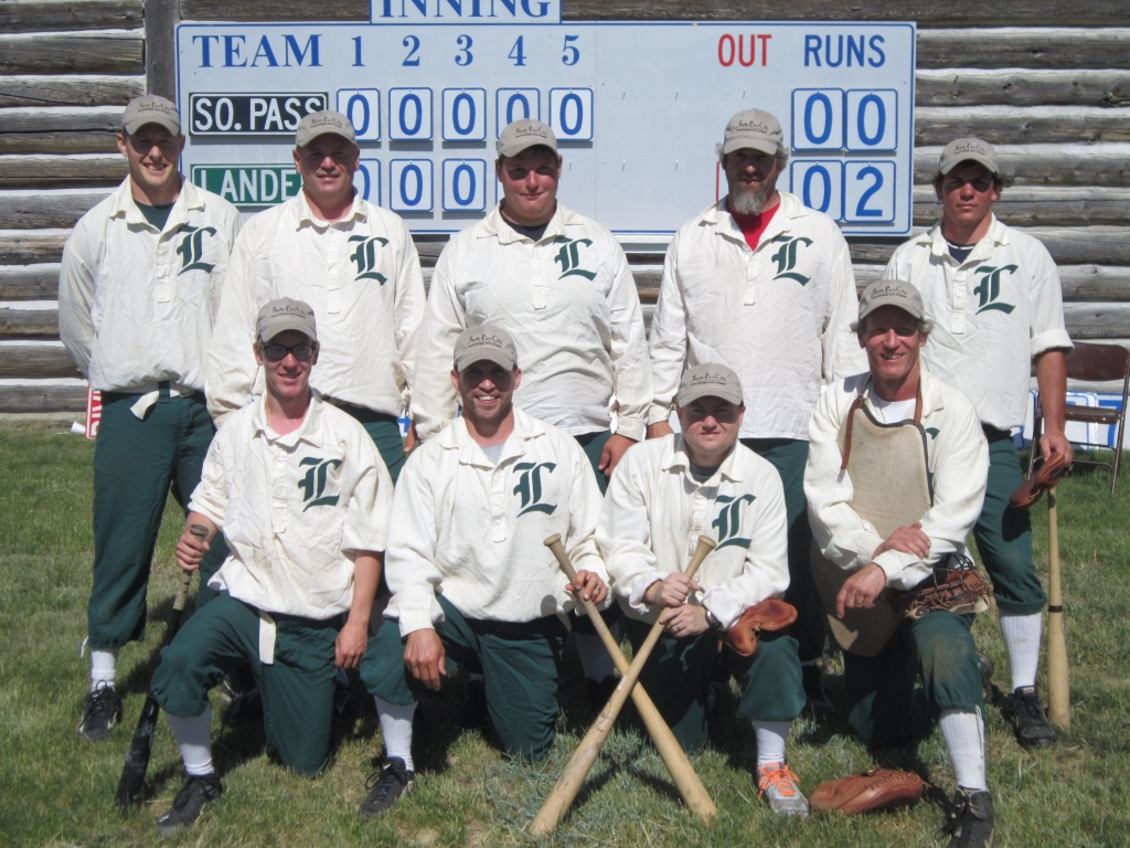 The 2014 Gold Rush Days Vintage Base Ball Champion Lander. Back row, l-r: Brian Oland, Alex Ayers, Dalton Crane, Eric Baker, and Joe Malek. Front row, l-r, Bradley Malek, Nick Scribner, Chris Hart, and Ray Malek. Not pictured is E.J. Sullivan who played on Saturday. (Ernie Over photo)