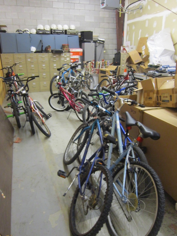 A storage room at Riverton City Hall contains over a dozen unregistered bicycles that were turned in to the RPD. Some 60 more are stored at another location. All bicycles remaining unclaimed will be auctioned off.  (Ernie Over photo)