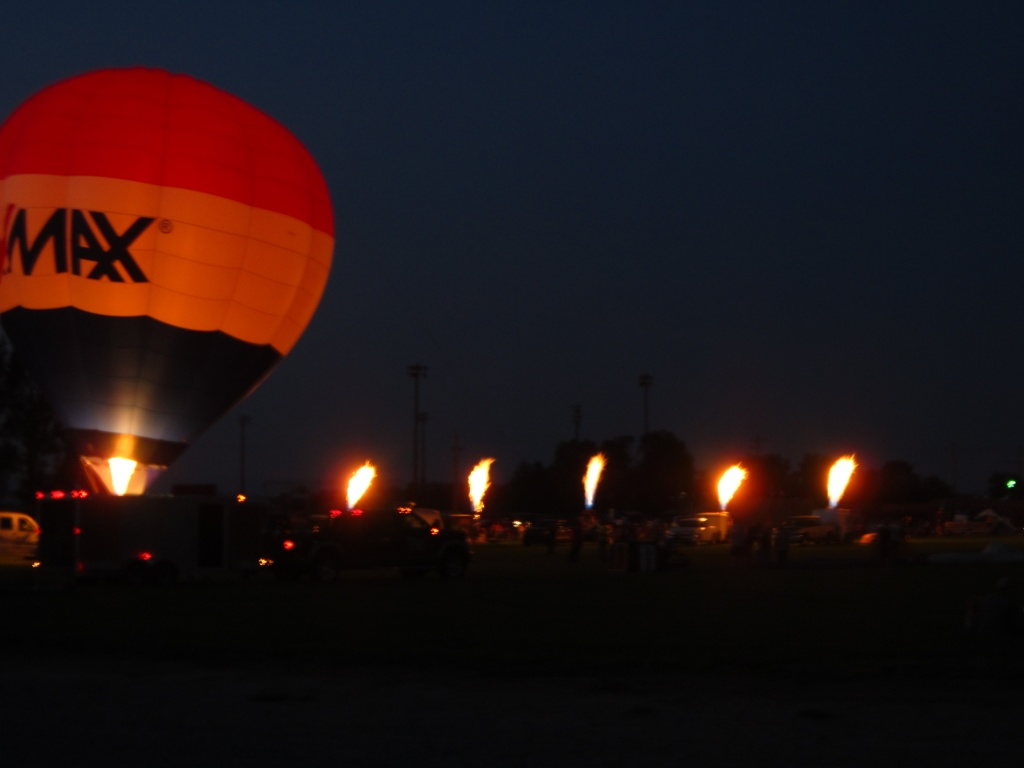 The balloon glow and candlesticks after dark. (Ernie Over photo)